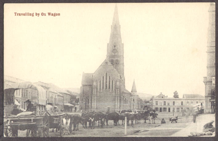 Image for Travelling by 16-ox wagon Cape Town South Africa postcard 1910s