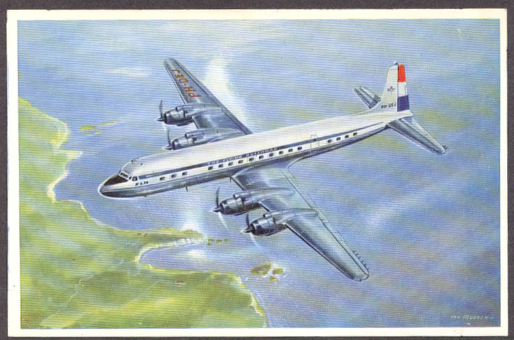 Image for KLM Royal Dutch Airlines Douglas DC-7C airline issue postcard