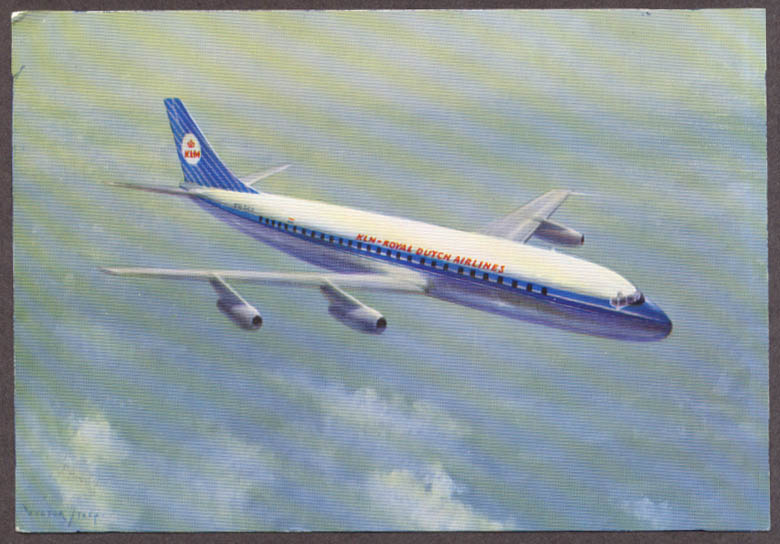 Image for KLM Royal Dutch Airlines Douglas DC-8 Intercontinental airline issue postcard #1