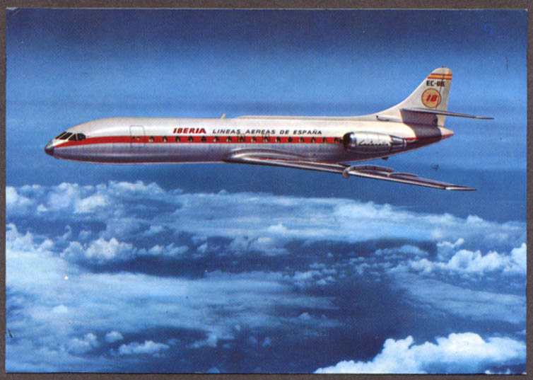 Image for Iberia Caravelle X-R Jetliner airline issue postcard 1968