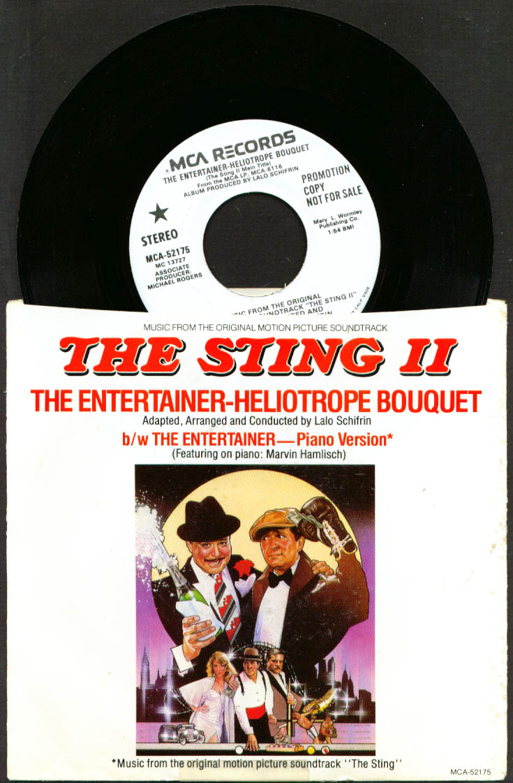 Image for Soundtrack Promo 45rpm The Sting II Hamlisch 1983 w/ 3-card monte cards