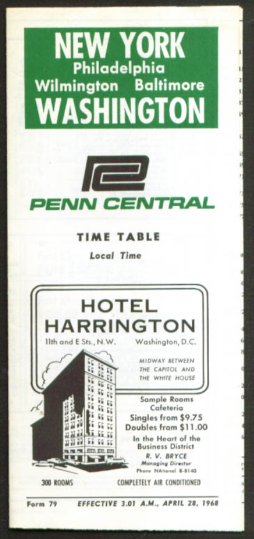 Image for Penn Central New York-Washington Time Table 1968