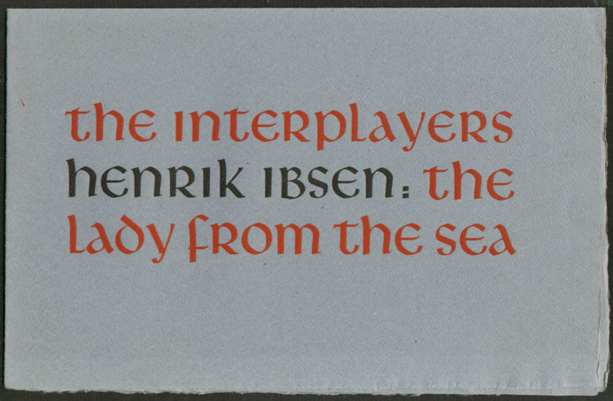 Image for Henrik Ibsen Lady from the Sea Interplayers San Francisco CA program 1950