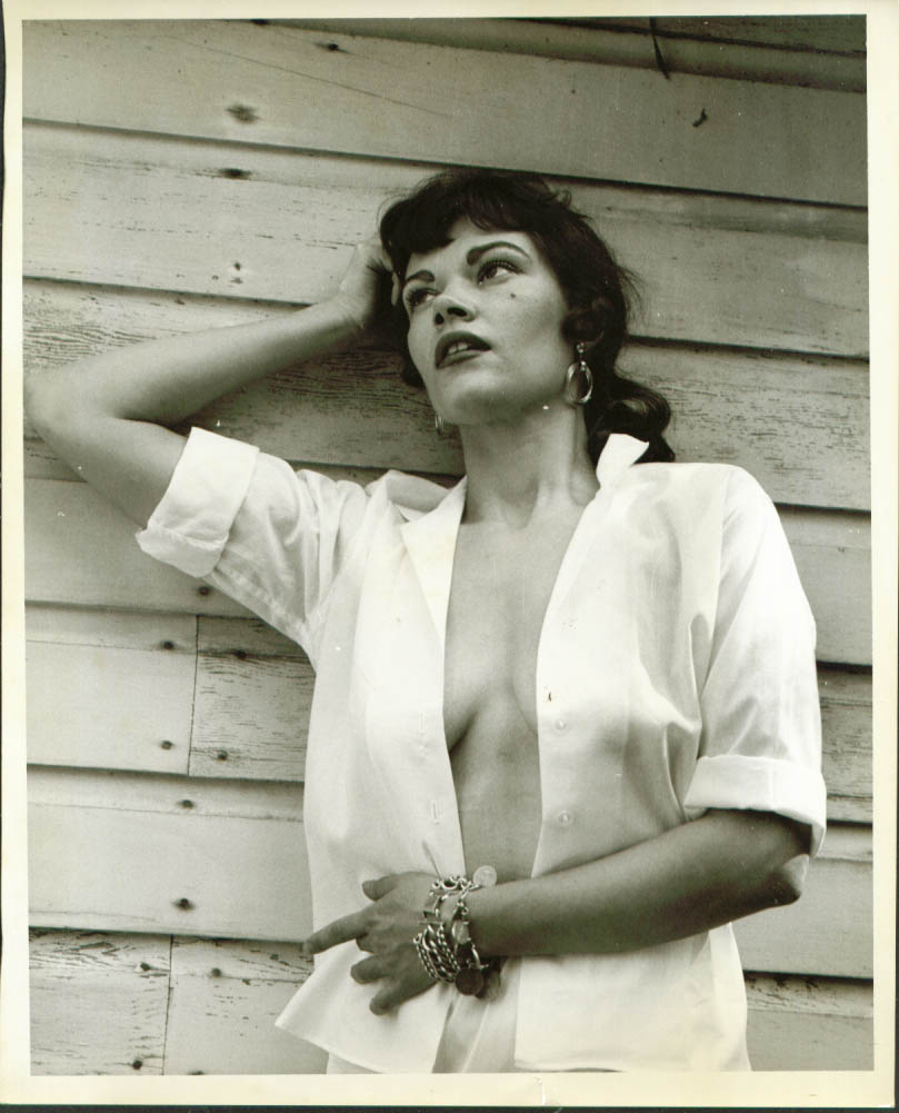 Image for Outdoor model unbuttoned blouse no bra 8x10 photo 1950s
