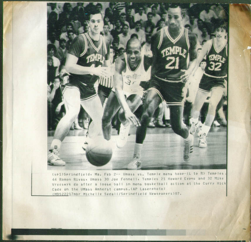 Image for Temple U Rivas & Evans v UMass Fennell NCAA photo 1987