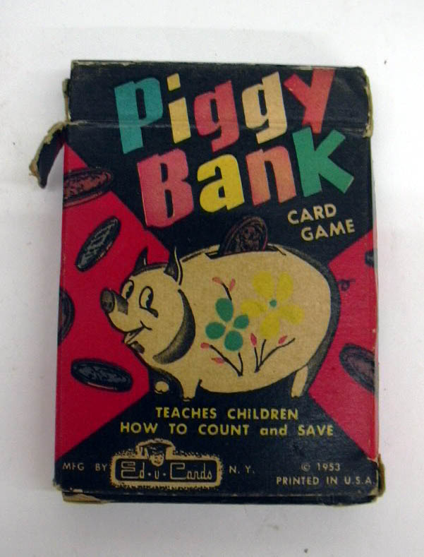 Image for Piggy Bank Card Game Ed-U-Cards deck in box 1953
