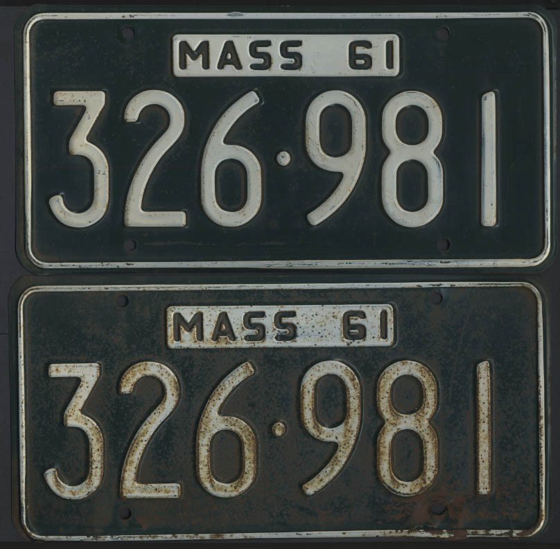 Image for PAIR Massachusetts license plates 326-981 1961 white on green