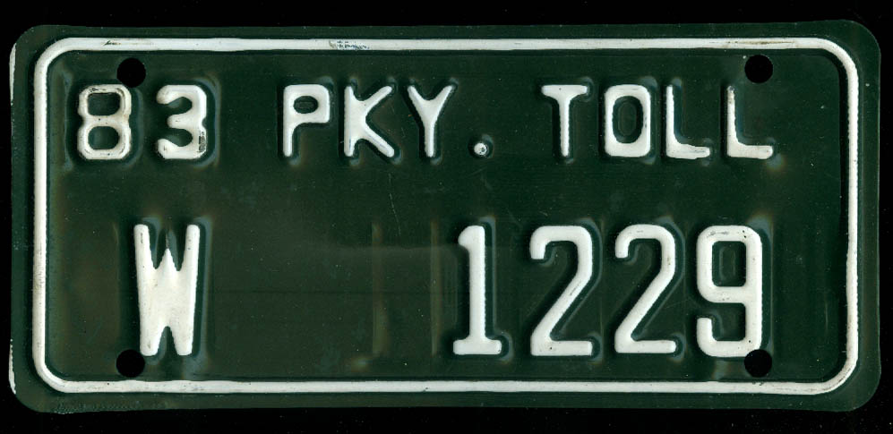 Image for Connecticut Wallingford Wilbur Cross Parkway Toll License Plate W 1229 1983