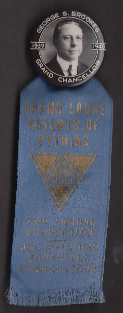 Image for Knights of Pythias 72nd Grand Lodge Convention Rockville CT pin 1940