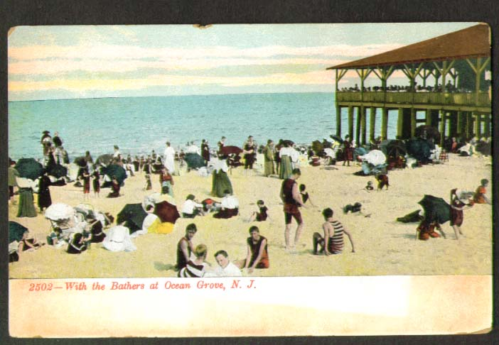 Image for Bathers Ocean Grove NJ postcard 1910s