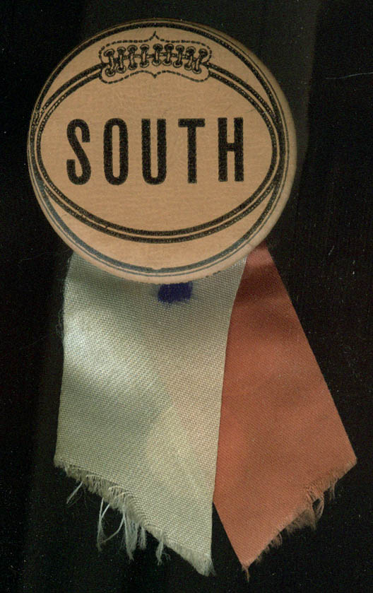 Image for South High School Basketball Pinback with ribbons ca 1930s