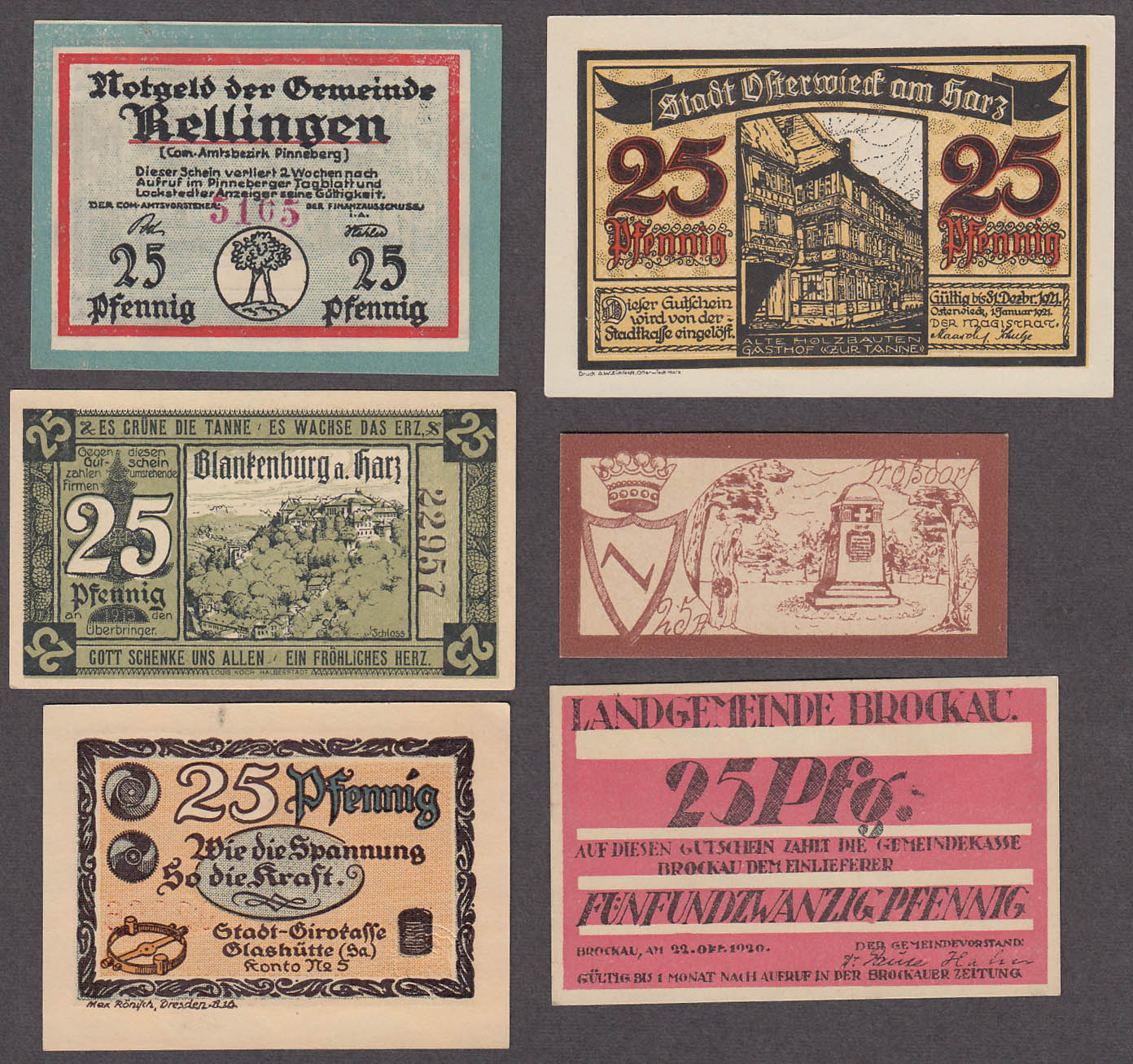 Image for Lot of SIX 25 Pfennig Token-Notes Bank Notes Notgeld Germany 1921 Lot #1