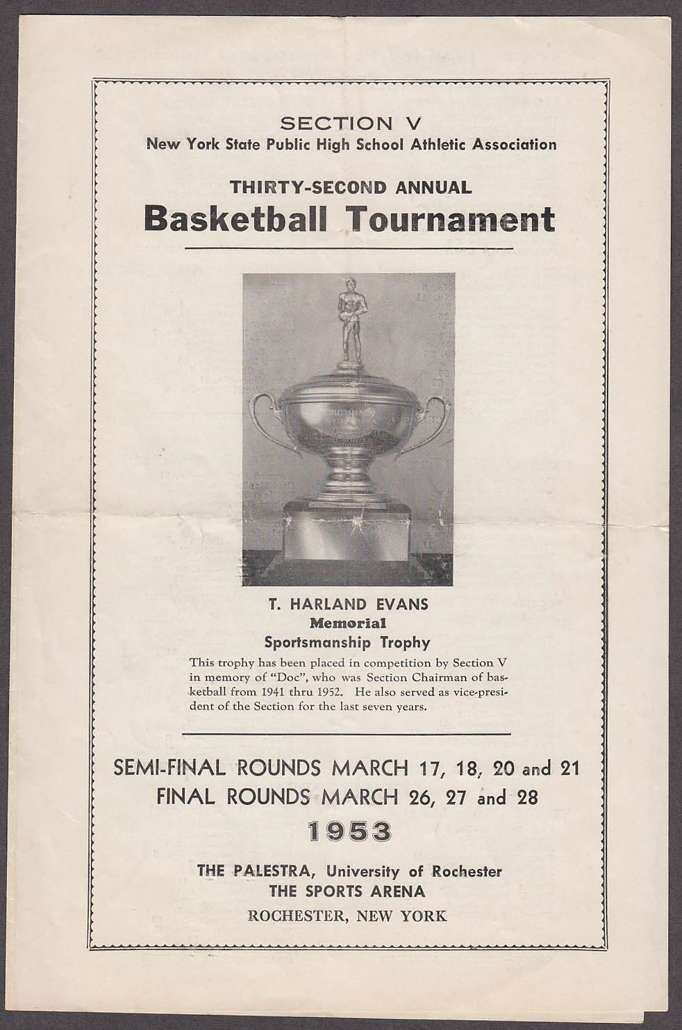 Image for NY State High School Basketball Tournament program Rochester NY 1953