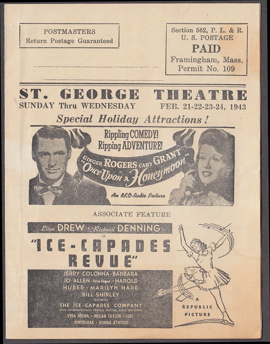 Image for St George Theatre Framingham MA mailer program 1943 Cary Grant Errol Flynn +