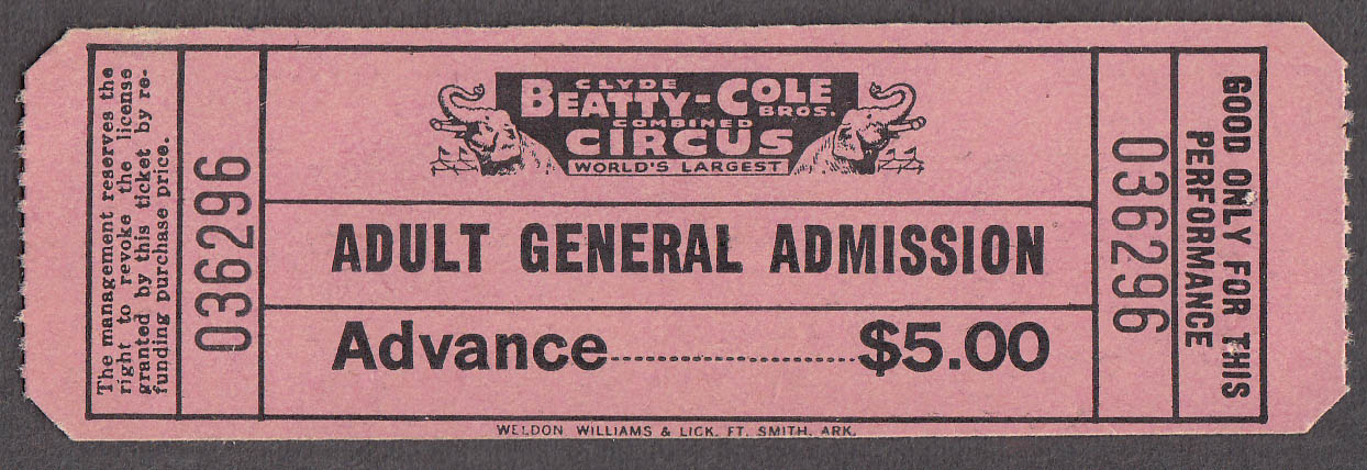 Image for Clyde Beatty Cole Bros circus ticket Adult Advance General Admission 1982