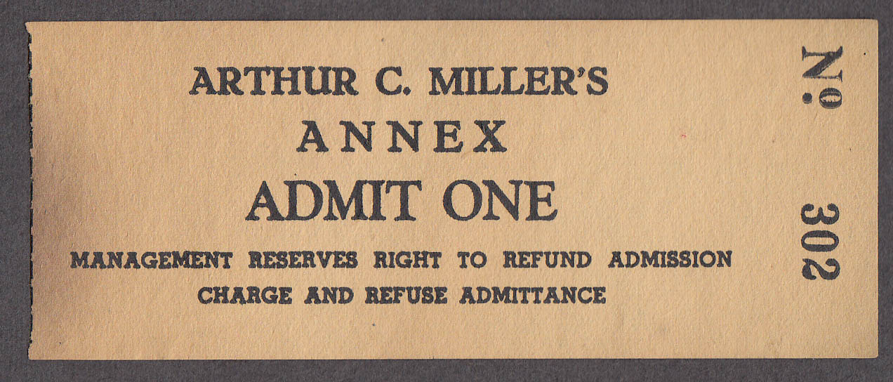 Image for Arthur C Miller's Annex Admit One circus ticket ca 1930s
