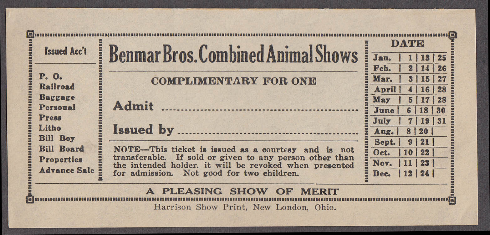 Image for Benmar Bros Combined Animal Shows circus ticket Complimentray unused ca 1940s