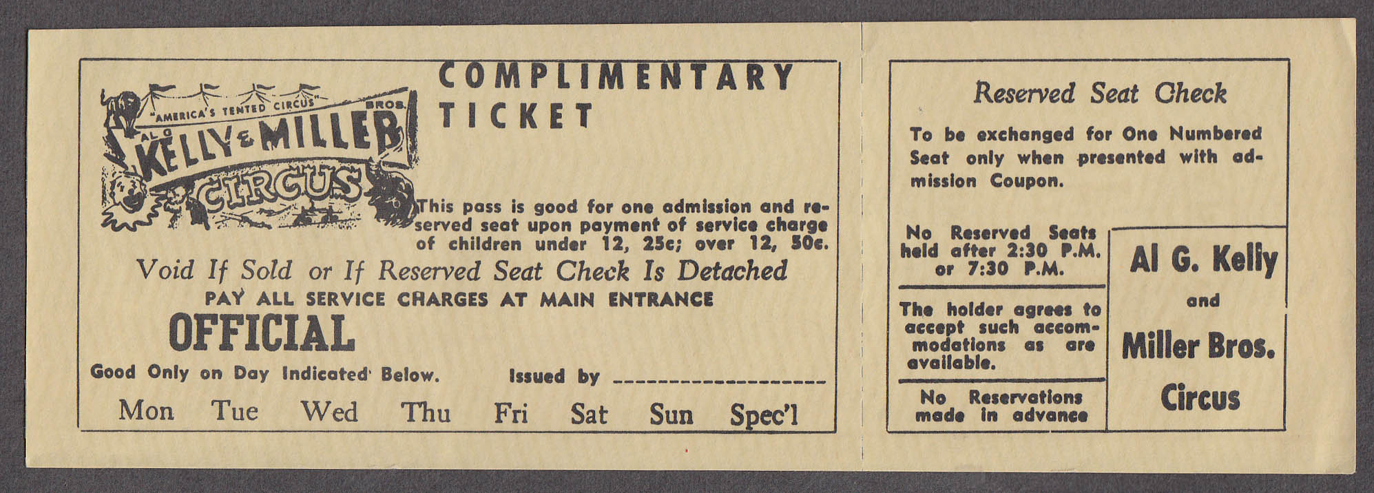 Image for Al G Kelly & Miller Bros circus ticket Complimentary Reserved Seat Check undated