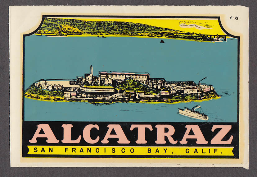 Image for Alcatraz Prison San Francisco Bay CA windsheild decal 1950s