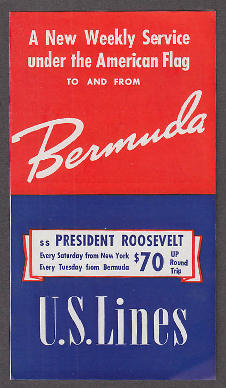 Image for United States Lines S S President Roosevelt Weekly Service Bermuda folder 1939