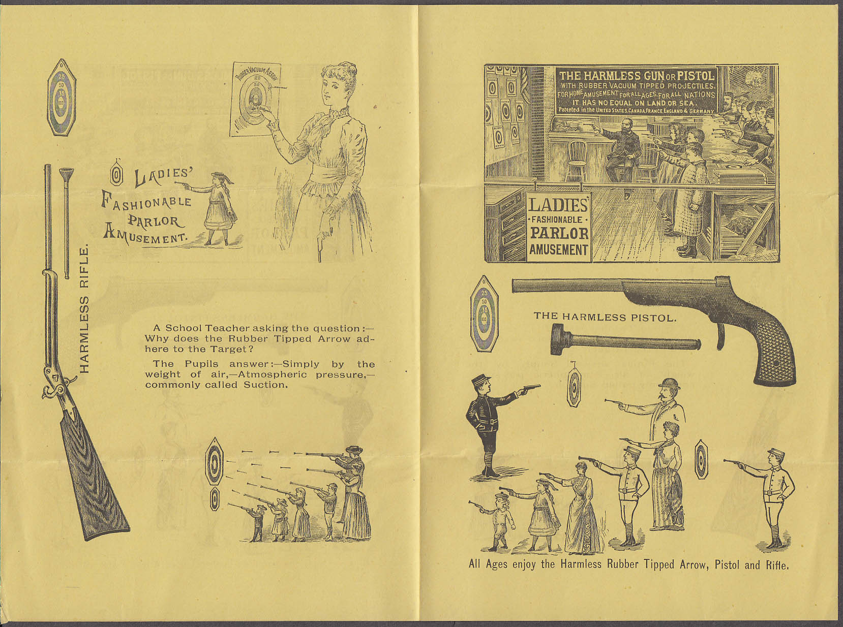 Image for Elastic Tip Harmless Rubber Tipped Arrow & Target Game sales folder 1890s