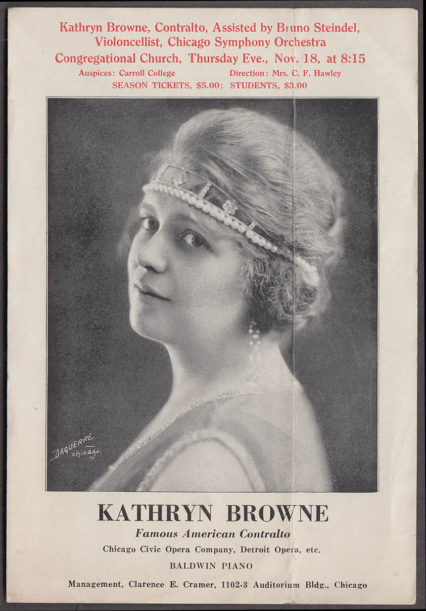 Image for Kathryn Browne Contralto Congregational Church program 1920 Helena MT