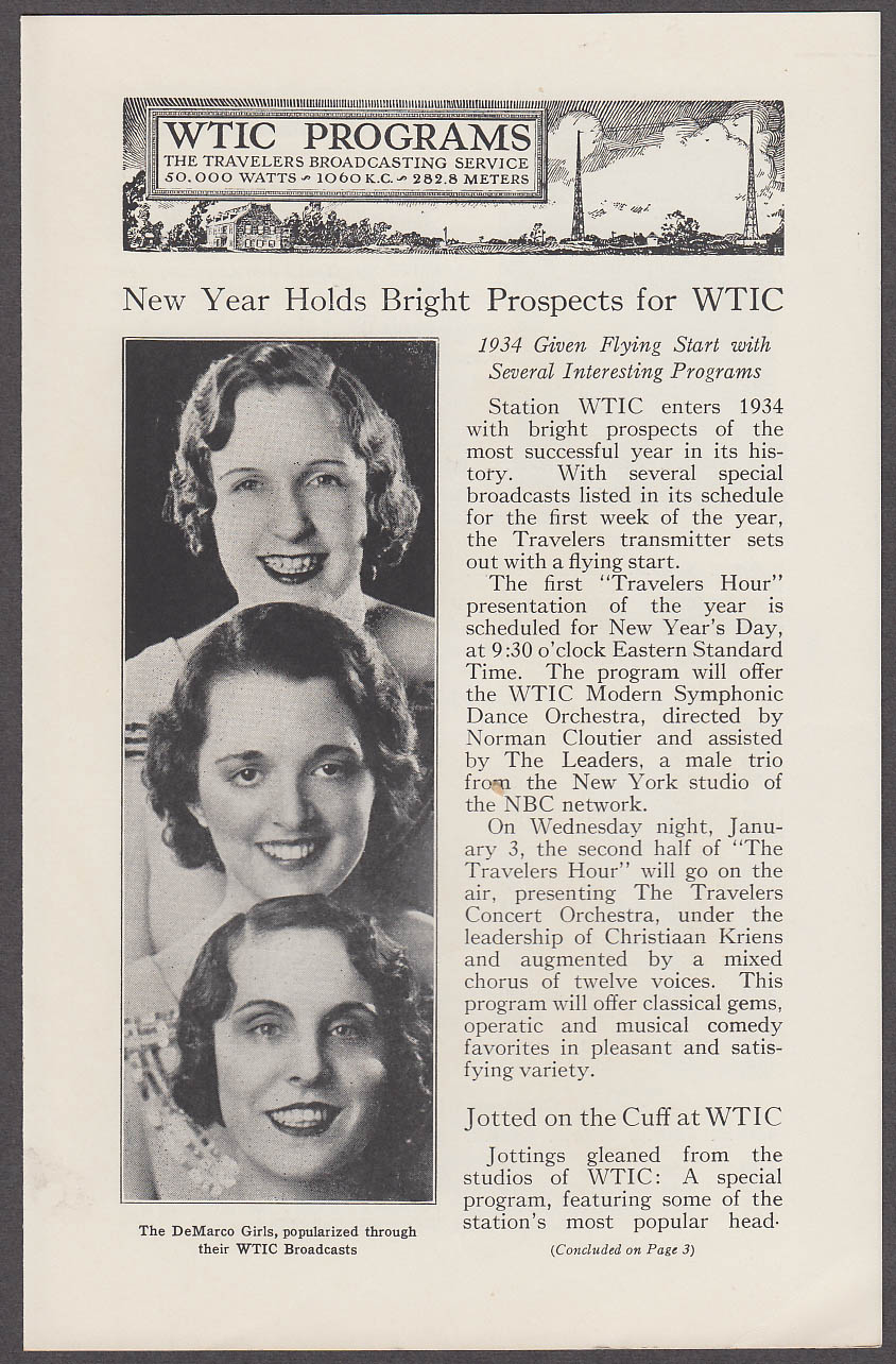 Image for The Travelers Protection magazine 12/27 1933 with WTIC Radio insert Hartford CT