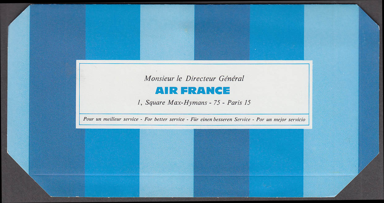 Image for Air France airline passenger commentary mailer 1970 unused
