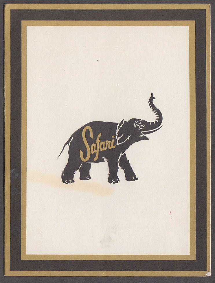 Image for Safari Restaurant mailable souvenir menu 1965 Texas