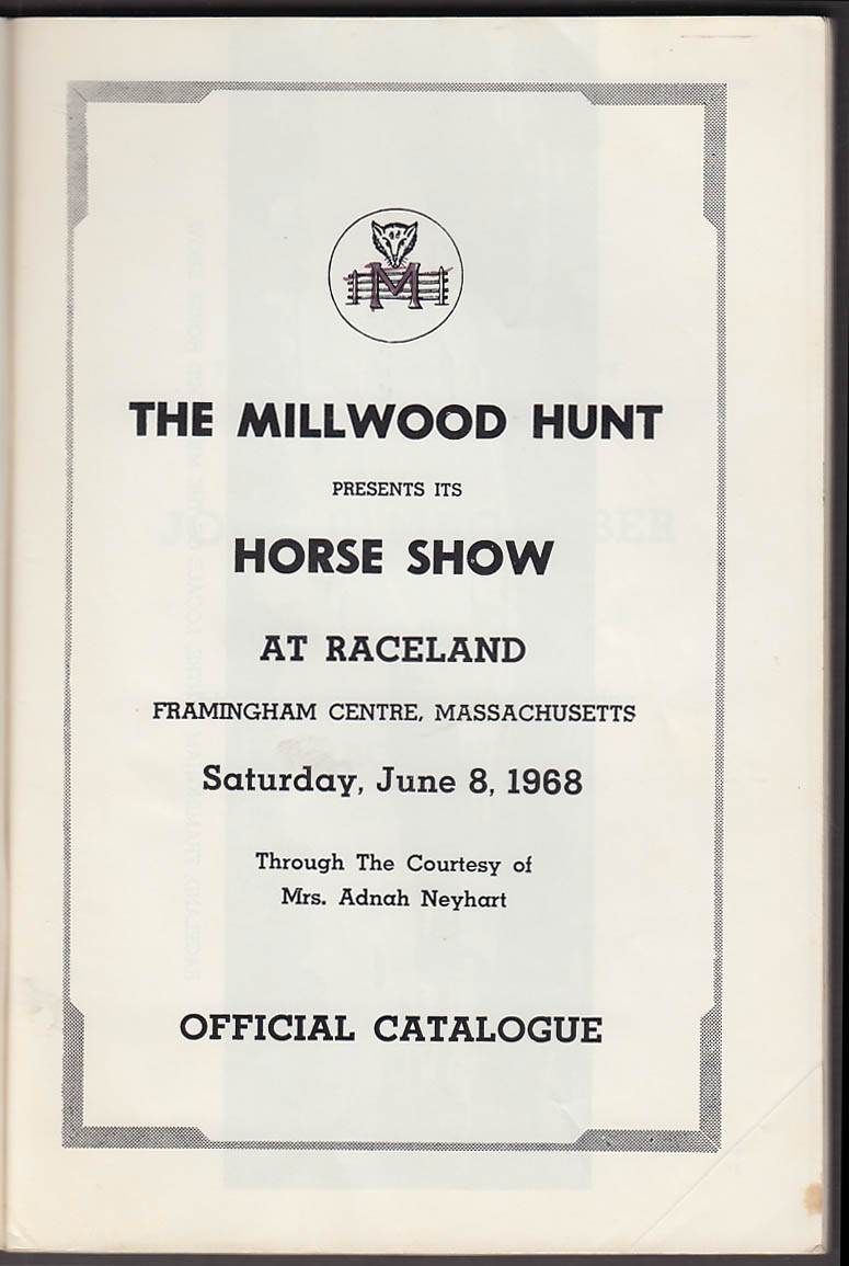Image for Millwood Horse Show Framingham Centre MA Catalogue 1968