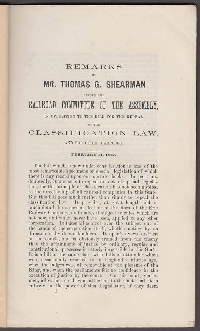 Image for Erie Railway T G Sherman Argument on Classification Law Repeal Bill 1871
