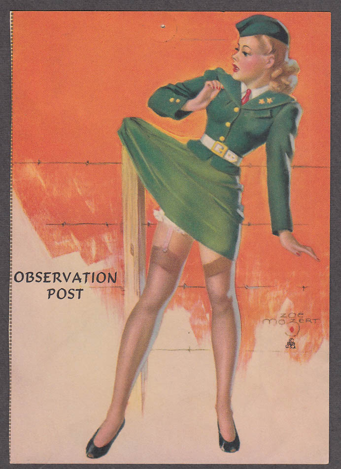 Image for Observation Post Zoe Mozert pin-up print blonde WAC caught on barbed wire 1940s