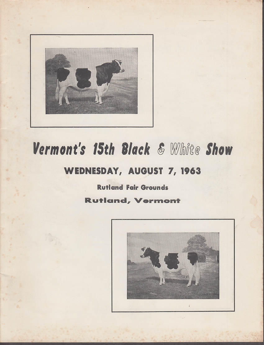 Image for Vermont's 15th Black & White Cow Show Rutland VT program 1963 Holstein