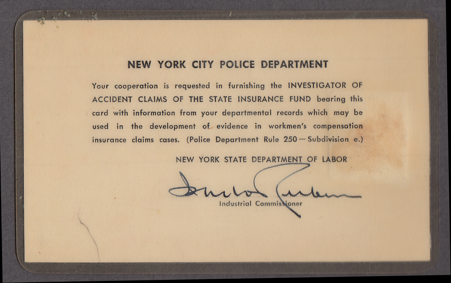 Image for State of New York Insurance Inspectors ID Card 1956-1957