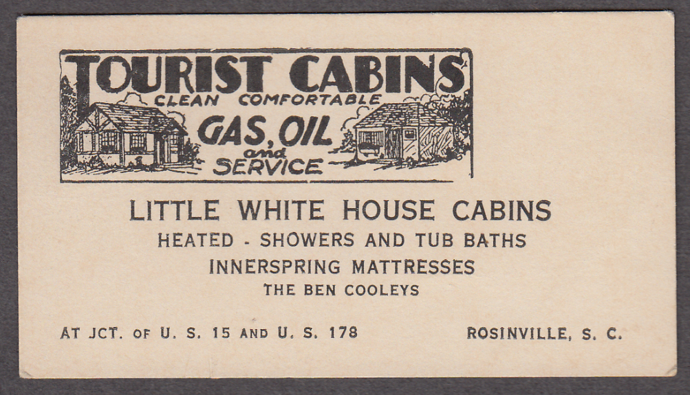 Image for Little White House Tourist Cabins Rosinville SC card 1940s The Ben Cooleys