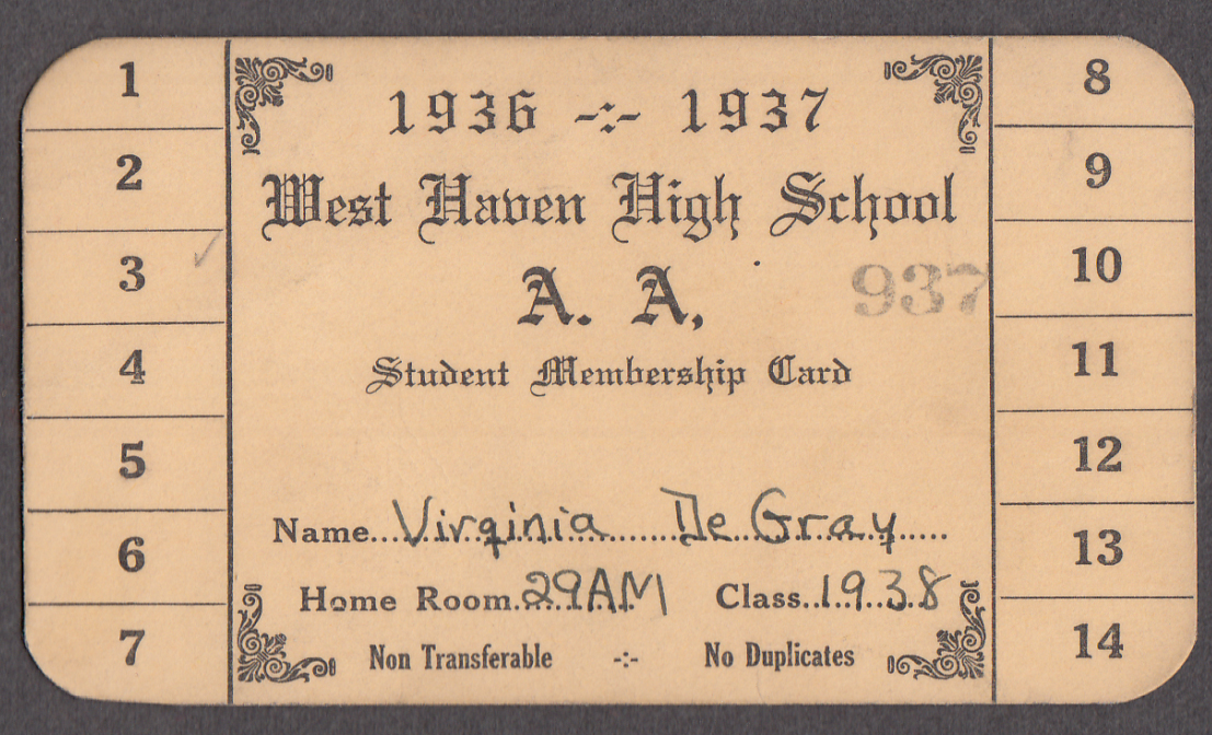 Image for West Haven High Athletic Association Student Membership Card 1936-7 CT