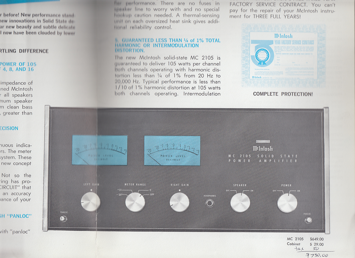 Image for McIntosh MC 2105  Solid State Stereo Amplifier sales folder 1970s