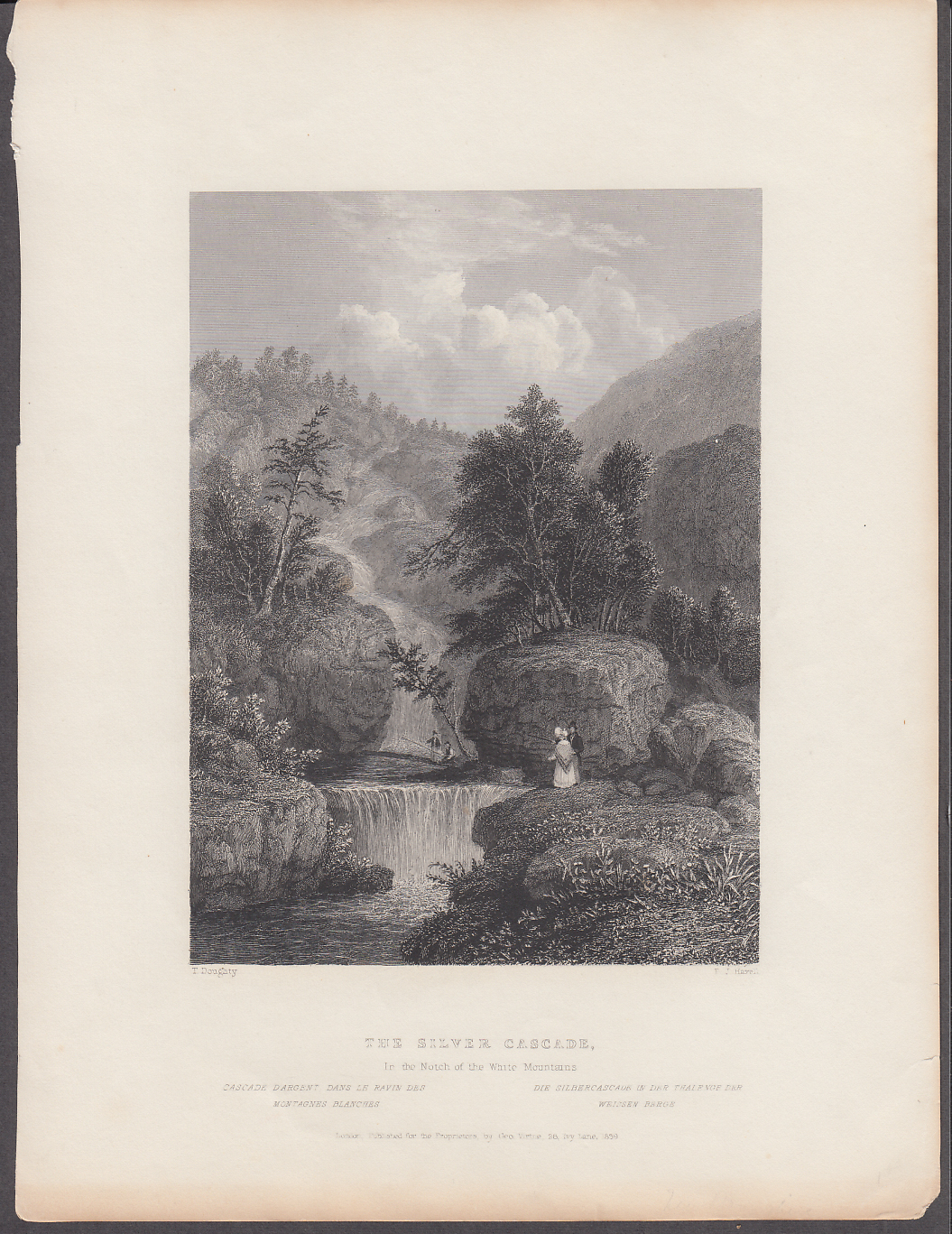Image for Silver Cascade Notch White Mountains NH engraving 1839