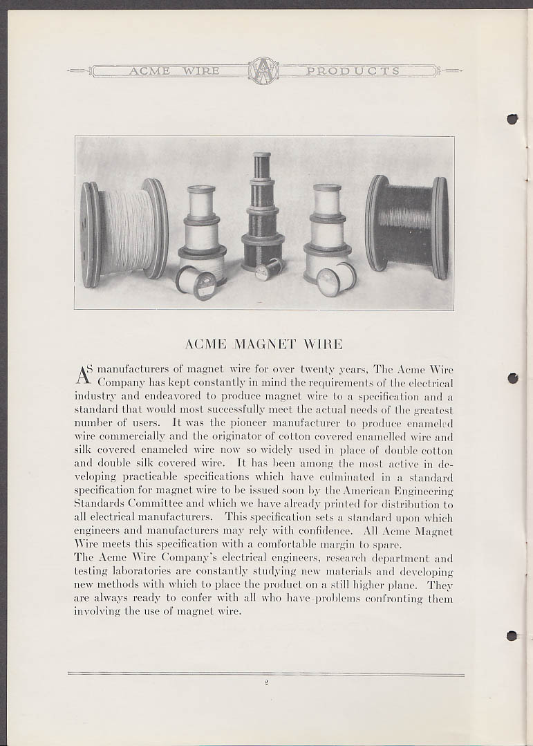 Image for Acme Magnet Wire Specifications including Special Wires manual 1935 New Haven CT
