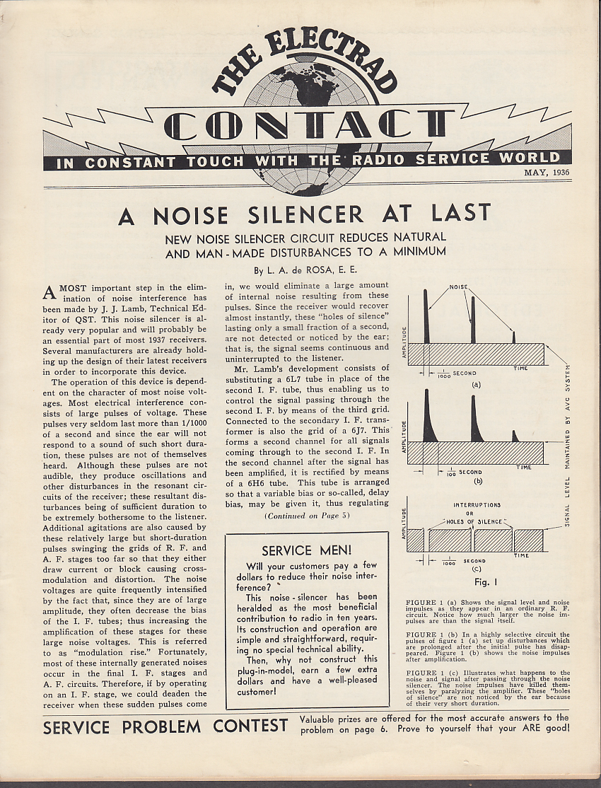 Image for The Electrad CONTACT 5 1936 Noise Silencer; Speaker Baffles