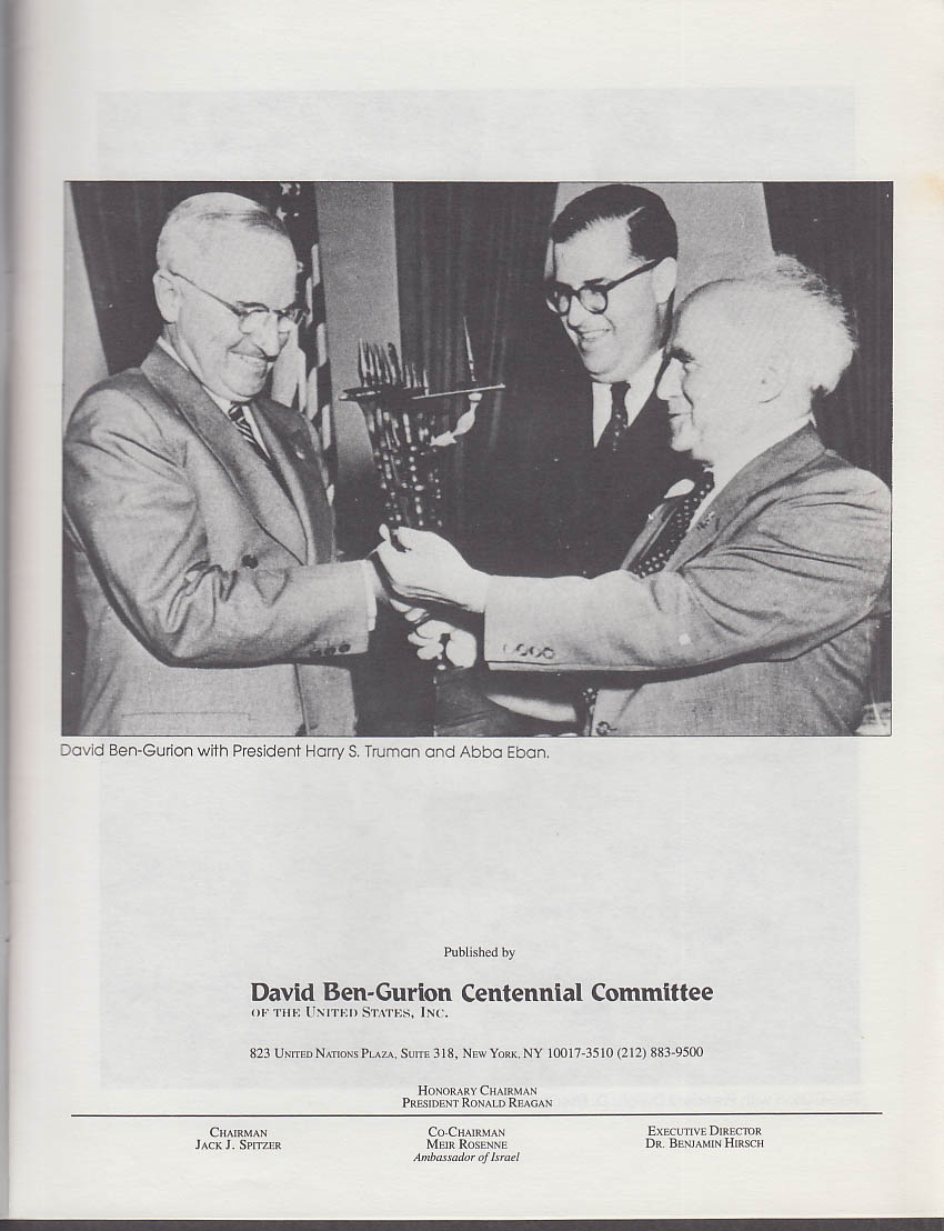 Image for David Ben-Gurion The Determined Visionary Centennial Brochure 1986