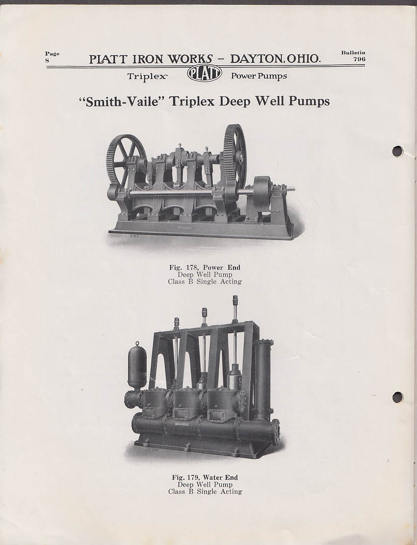 Image for Platt Iron Works Triplex Power Pumps Bulletin #796 7 1919