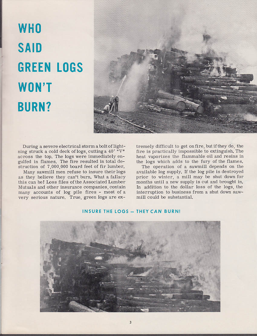 Image for Associated Lumber Mutuals ALM BURNING QUESTION 1963 green logs burn lightning
