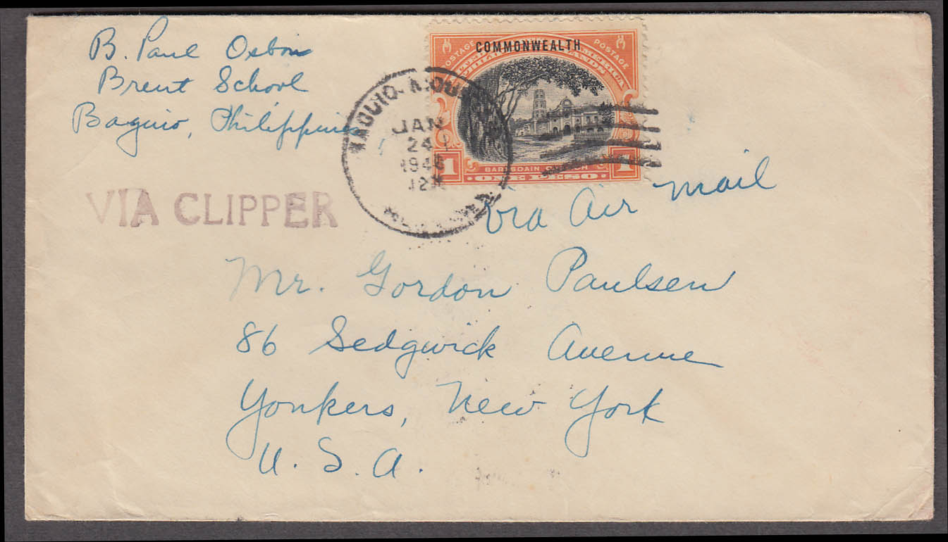 Image for Postal cover Clipper air mail 1 peso Philiipine Islands stamp 1940 COMMONWEALTH