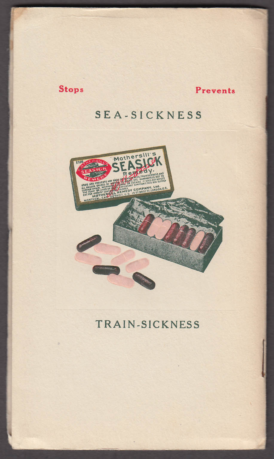 Image for Mothersill's Seasick Remedy Travel Book ca 1910 Detroit MI