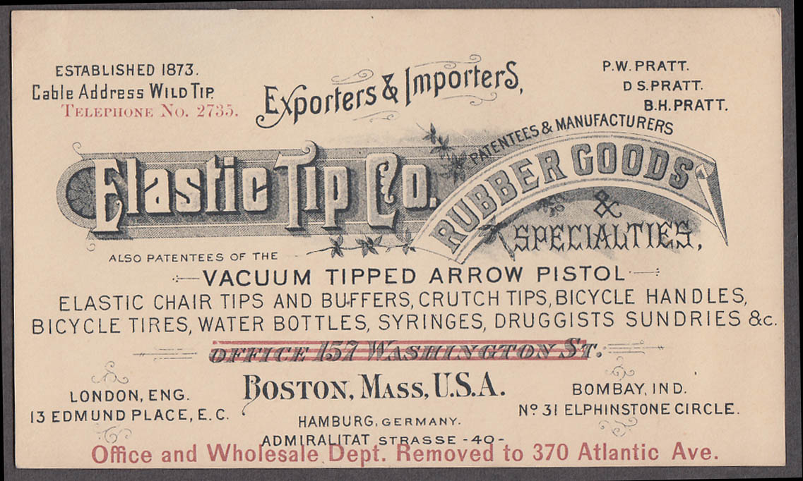 Image for Elastic Tip Rubber Goods Arrow Pistol Bicycle Tires Syringes card Boston c 1890s
