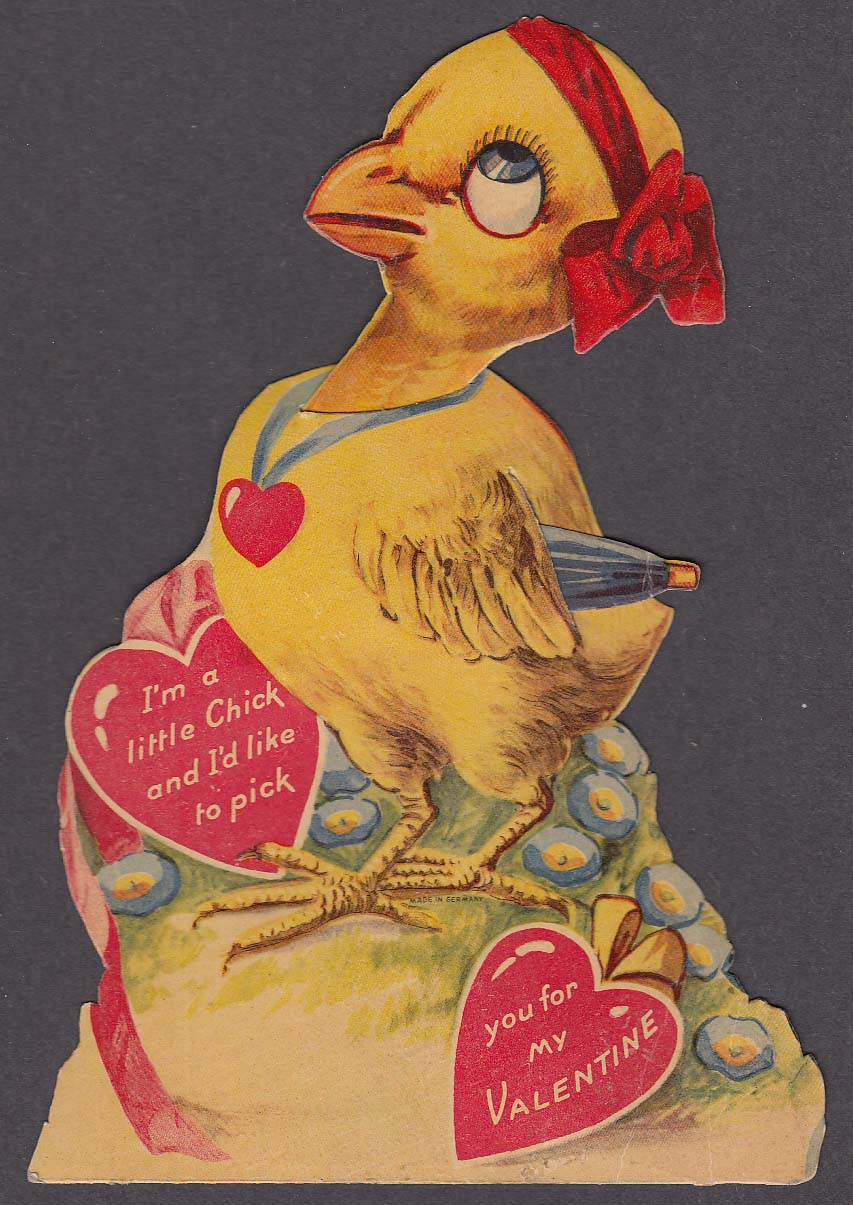 Image for Little Chick holding umbrella mechanical Valentine card
