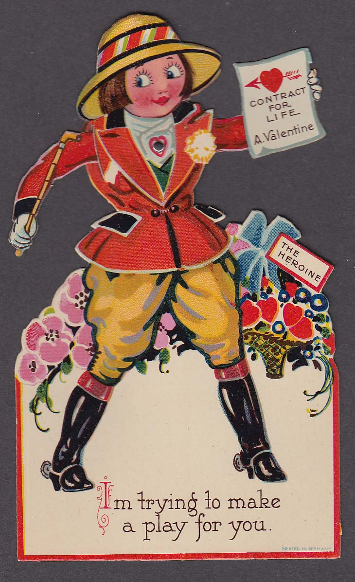 Image for The Heroine Contract for Life mechanical Valentine card ca 1910s