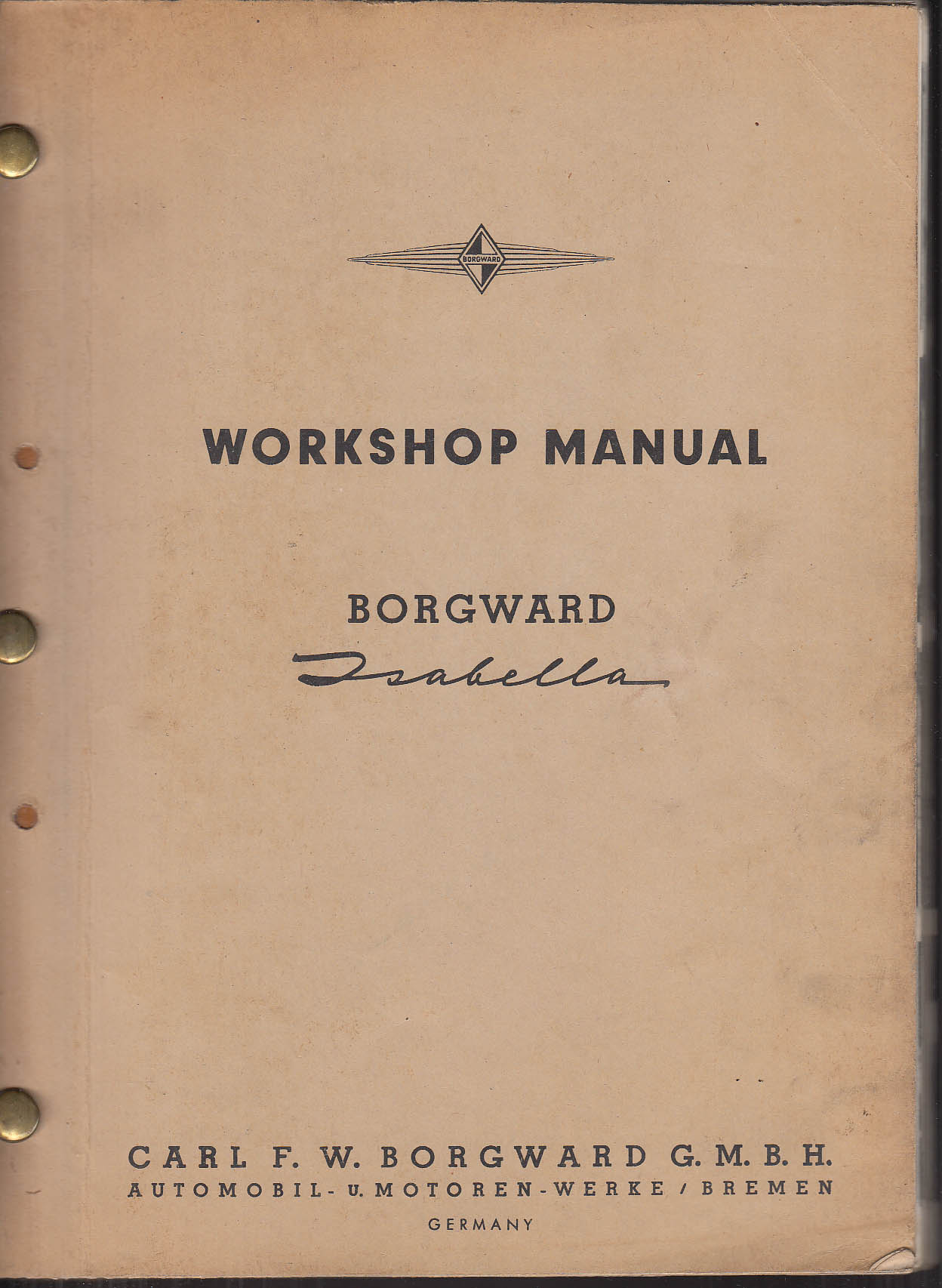 Image for Borgward Isabella Automobile Workshop Manual ca 1954 Germany