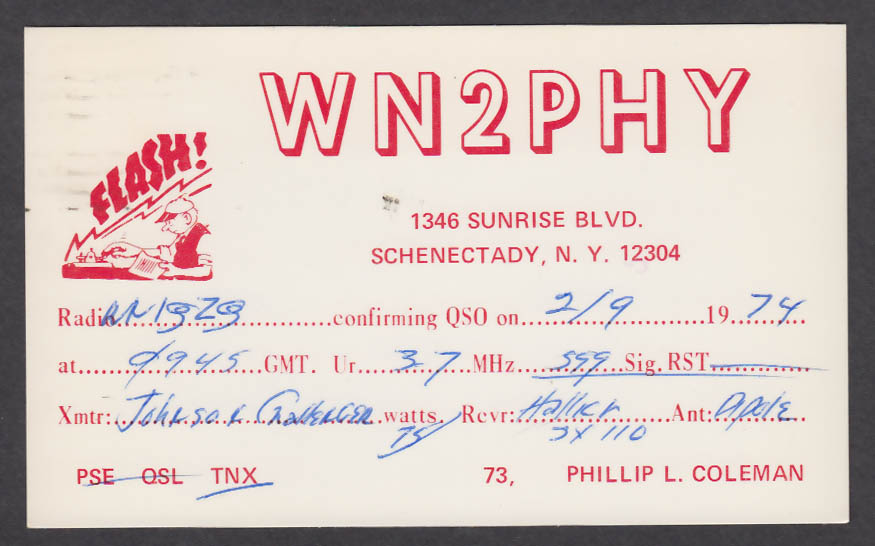 Image for WN2PHY Phillip Coleman 1346 Sunrise Blvd Schenectady NY QSL postcard 1974